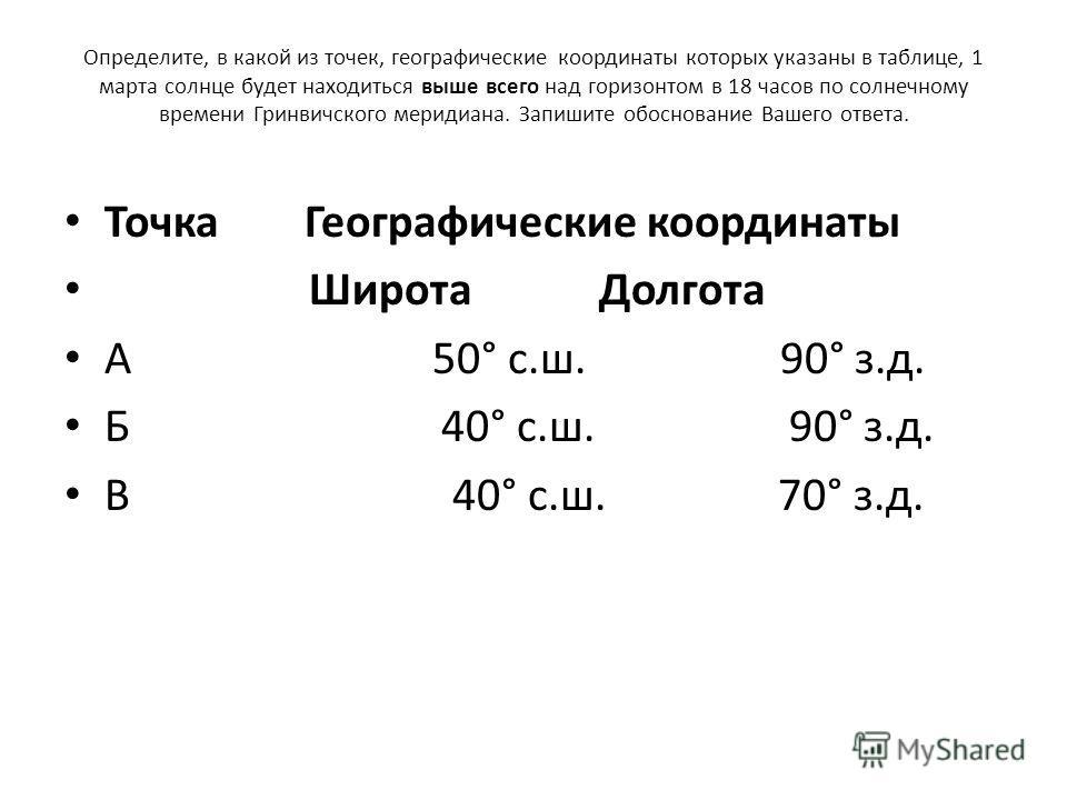 Определите, в какой из точек, географические координаты которых указаны в таблице, 1 марта солнце будет находиться выше всего над горизонтом в 18 часов по солнечному времени Гринвичского меридиана. Запишите обоснование Вашего ответа. Точка Географиче