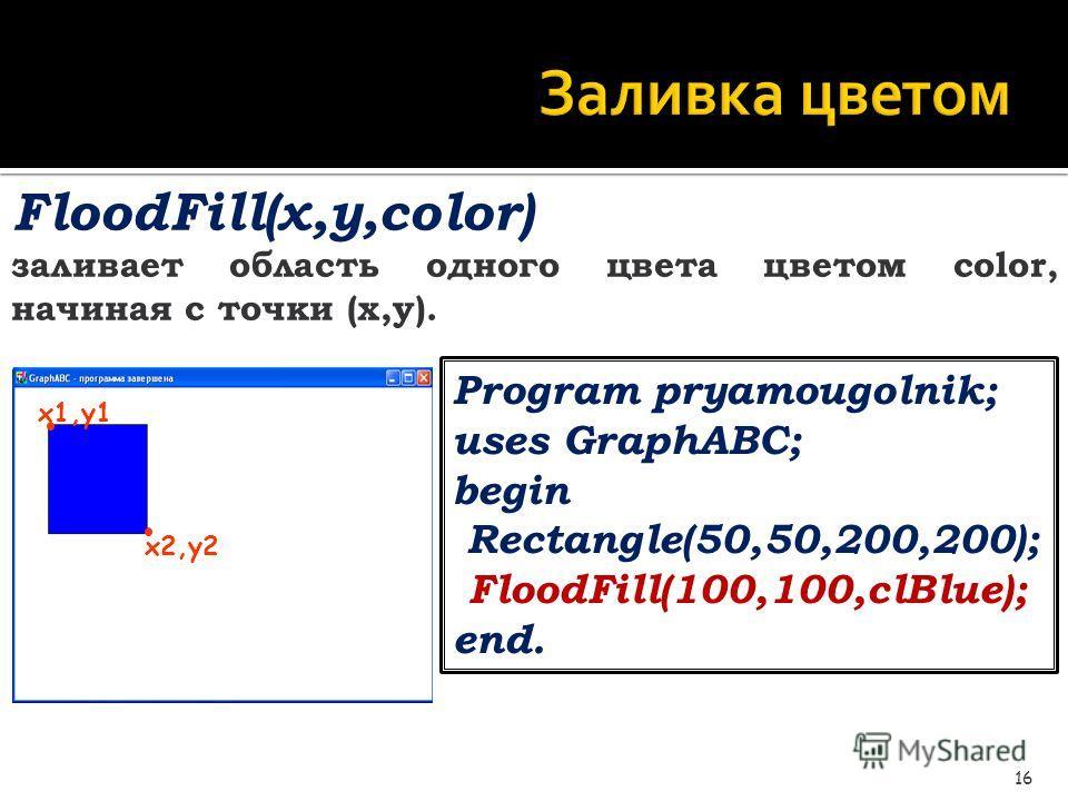 Заливка цветом 16 FloodFill(x,y,color) заливает область одного цвета цветом color, начиная с точки (x,y). Program pryamougolnik; uses GraphABC; begin Rectangle(50,50,200,200); FloodFill(100,100,clBlue); end. x1,y1 x2,y2