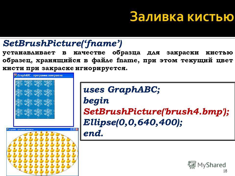 Заливка кистью 18 SetBrushPicture(fname) устанавливает в качестве образца для закраски кистью образец, хранящийся в файле fname, при этом текущий цвет кисти при закраске игнорируется. uses GraphABC; begin SetBrushPicture('brush4.bmp'); Ellipse(0,0,64