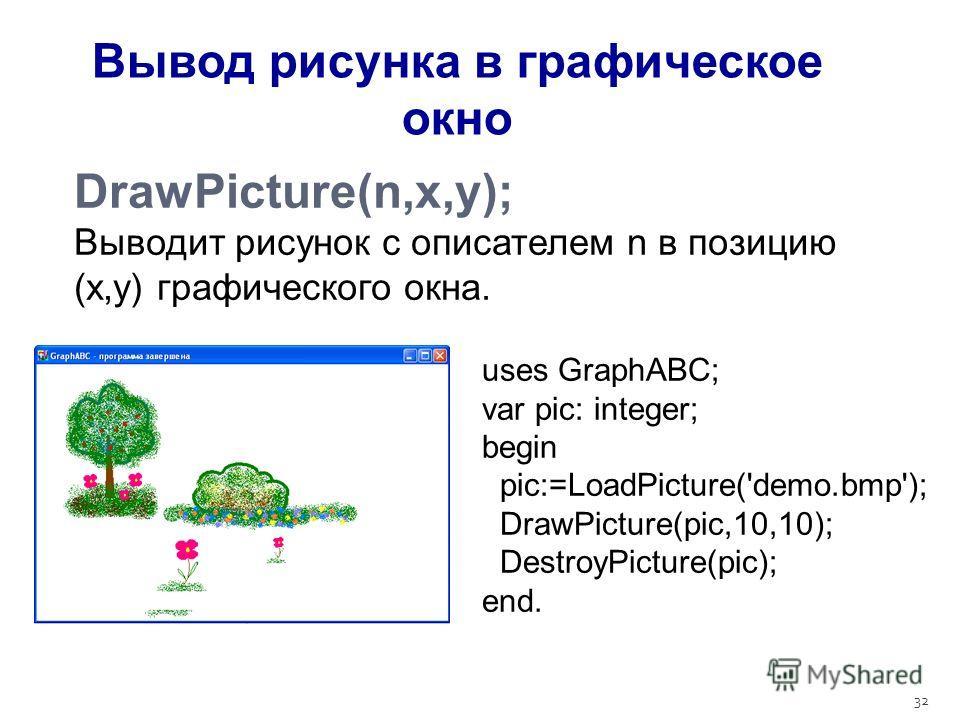 32 DrawPicture(n,x,y); Выводит рисунок с описателем n в позицию (x,y) графического окна. Вывод рисунка в графическое окно uses GraphABC; var pic: integer; begin pic:=LoadPicture('demo.bmp'); DrawPicture(pic,10,10); DestroyPicture(pic); end.