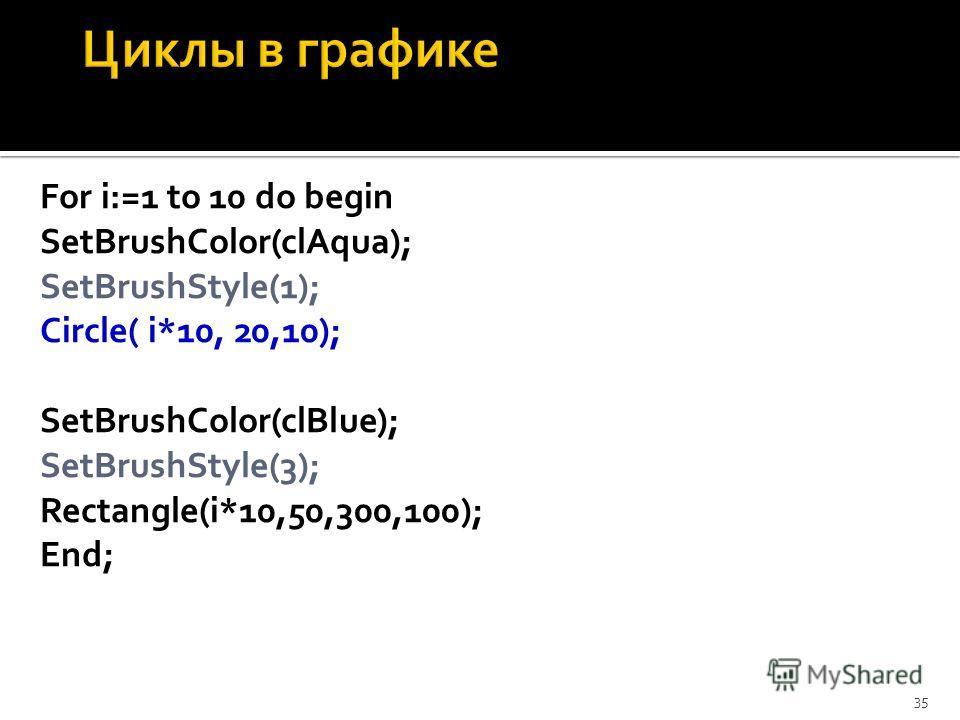 For i:=1 to 10 do begin SetBrushColor(clAqua); SetBrushStyle(1); Circle( i*10, 20,10); SetBrushColor(clBlue); SetBrushStyle(3); Rectangle(i*10,50,300,100); End; 35