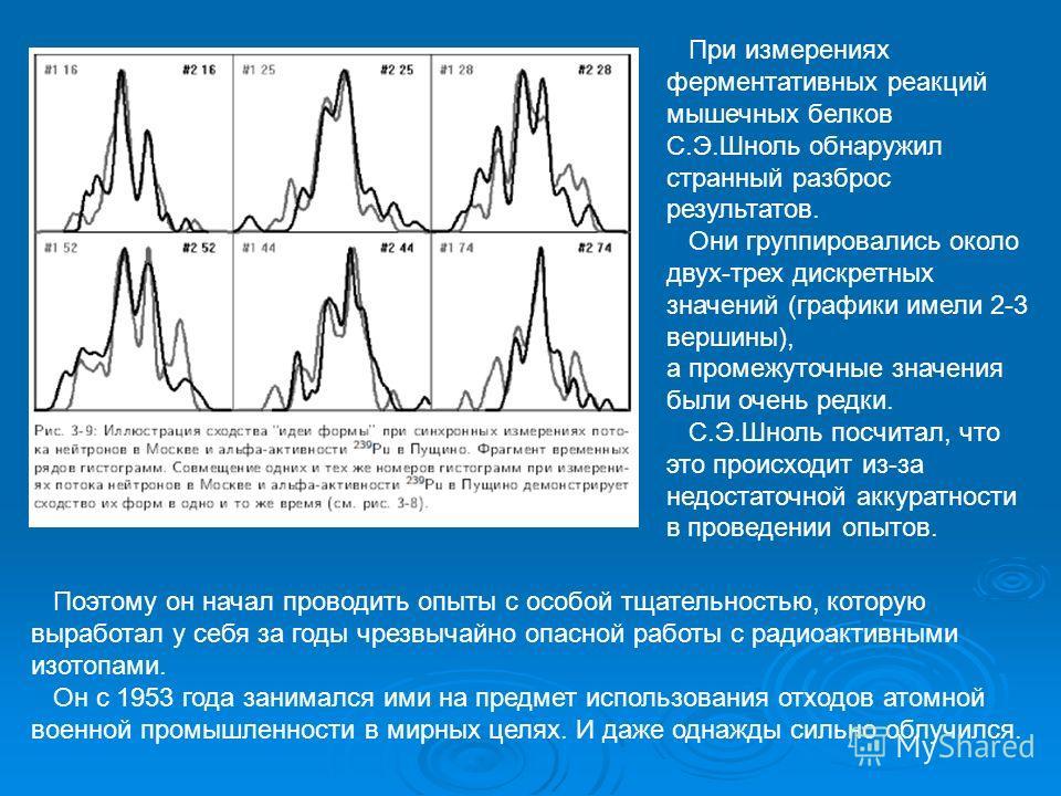 При измерениях ферментативных реакций мышечных белков С.Э.Шноль обнаружил странный разброс результатов. Они группировались около двух-трех дискретных значений (графики имели 2-3 вершины), а промежуточные значения были очень редки. С.Э.Шноль посчитал,