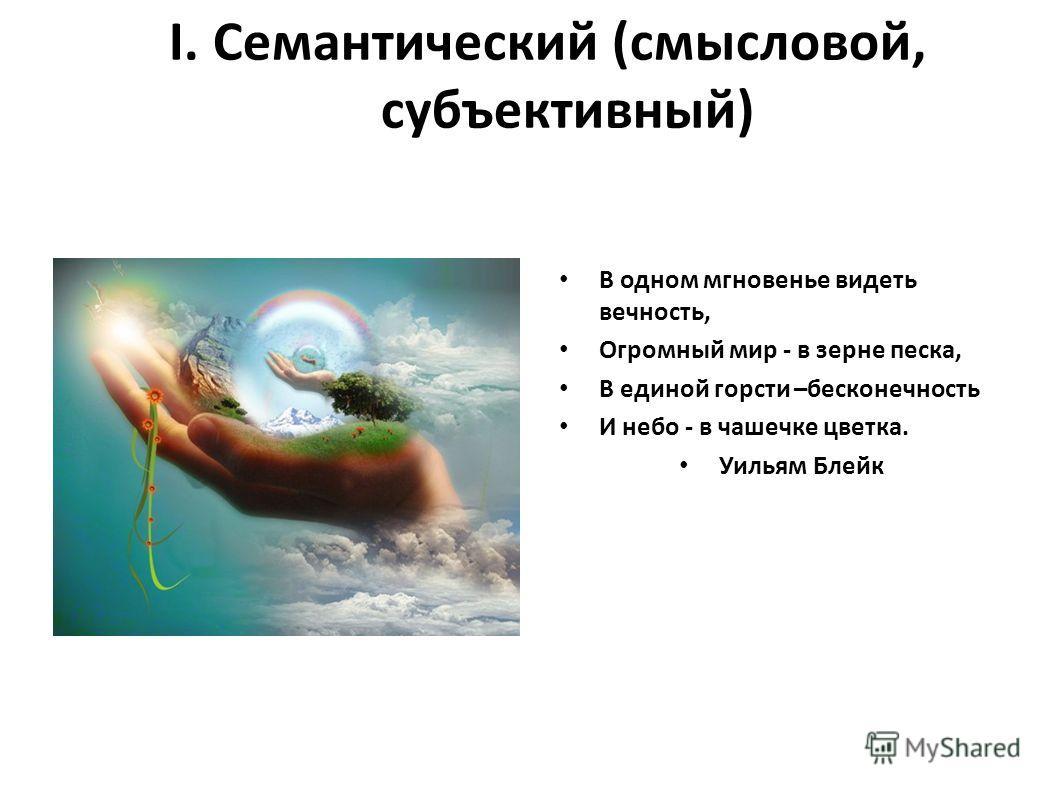 I. Семантический (смысловой, субъективный) В одном мгновенье видеть вечность, Огромный мир - в зерне песка, В единой горсти –бесконечность И небо - в чашечке цветка. Уильям Блейк