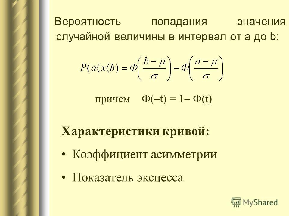 Вероятность попадания значения случайной величины в интервал от а до b: причем Ф(–t) = 1– Ф(t) Характеристики кривой: Коэффициент асимметрии Показатель эксцесса