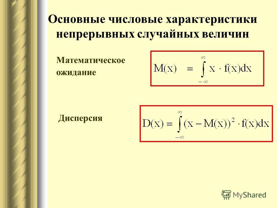 Основные числовые характеристики непрерывных случайных величин Математическое ожидание Дисперсия