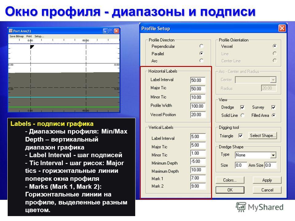 Окно профиля - диапазоны и подписи Labels - подписи графика - Диапазоны профиля: Min/Max Depth – вертикальный диапазон графика - Label Interval - шаг подписей - Tic Interval - шаг рисок: Major tics - горизонтальные линии поперек окна профиля - Marks