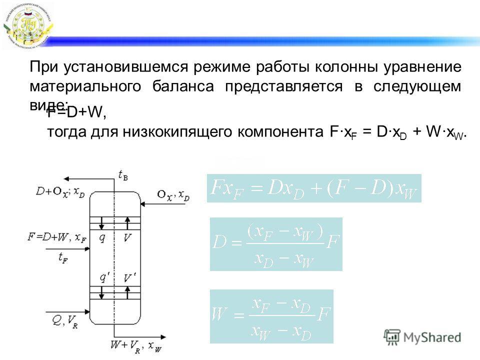 При установившемся режиме работы колонны уравнение материального баланса представляется в следующем виде: F=D+W, тогда для низкокипящего компонента F·x F = D·x D + W·x W.