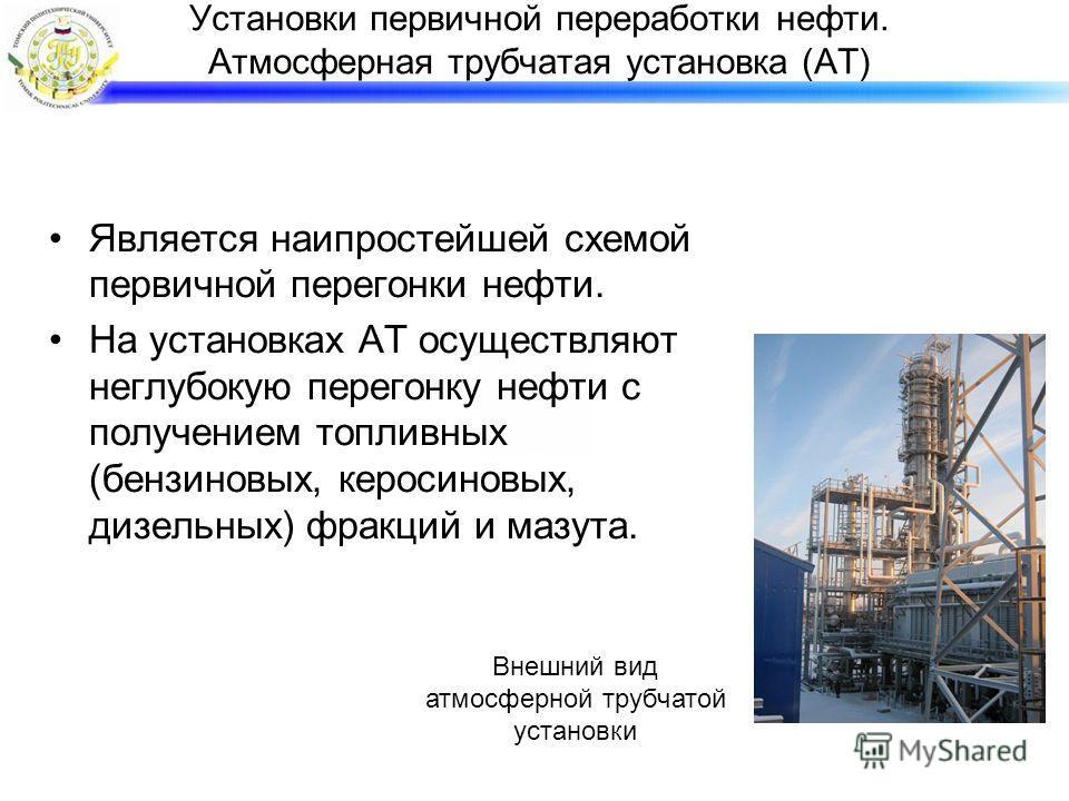 Установки первичной переработки нефти. Атмосферная трубчатая установка (АТ) Является наипростейшей схемой первичной перегонки нефти. На установках АТ осуществляют неглубокую перегонку нефти с получением топливных (бензиновых, керосиновых, дизельных)