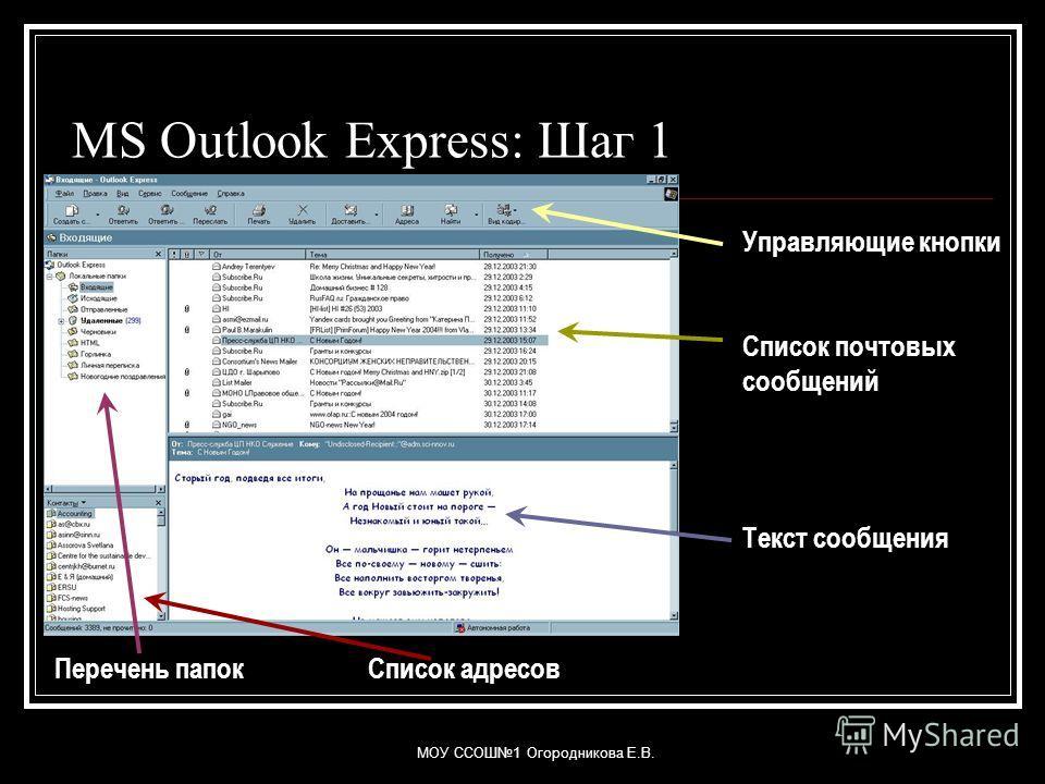 МОУ ССОШ1 Огородникова Е.В. MS Outlook Express: Шаг 1 Управляющие кнопки Список почтовых сообщений Текст сообщения Перечень папокСписок адресов
