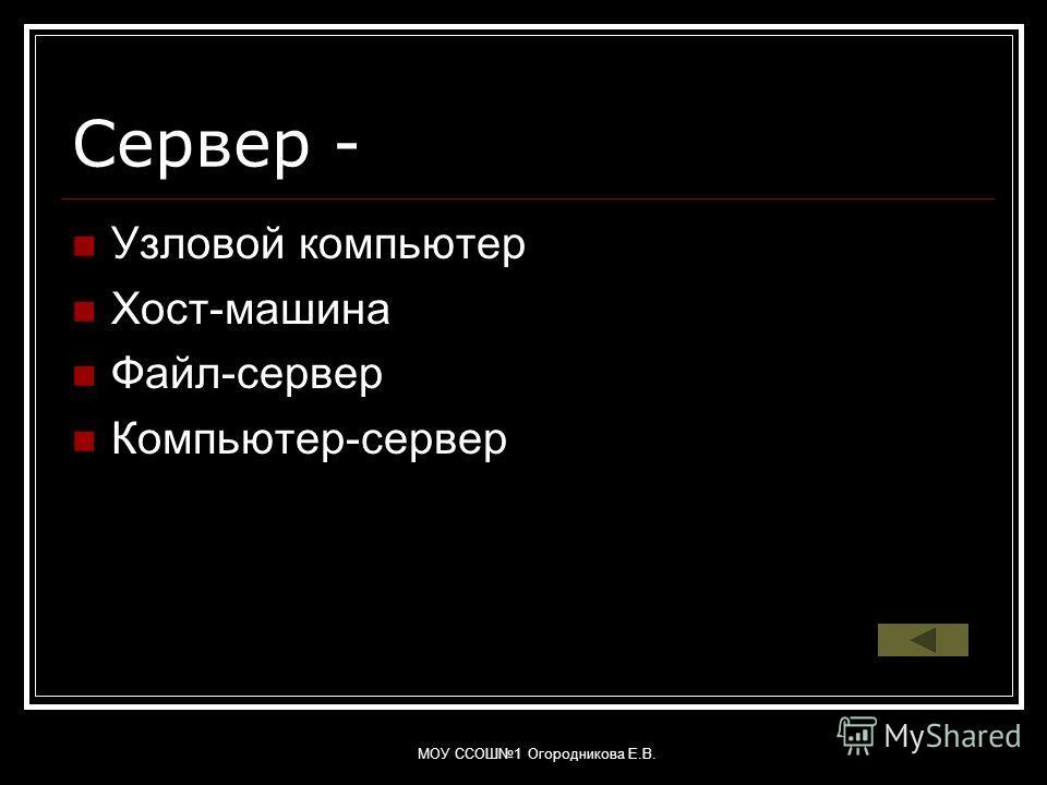 МОУ ССОШ1 Огородникова Е.В. Сервер - Узловой компьютер Хост-машина Файл-сервер Компьютер-сервер