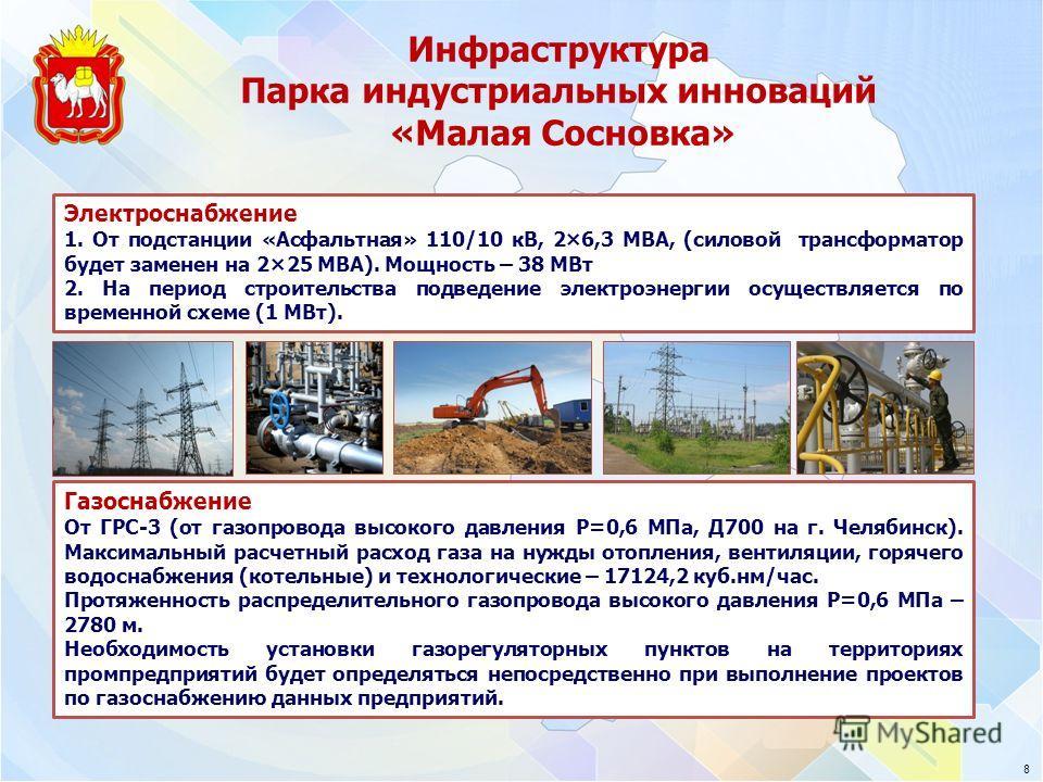 Инфраструктура Парка индустриальных инноваций «Малая Сосновка» Электроснабжение 1. От подстанции «Асфальтная» 110/10 кВ, 2×6,3 МВА, (силовой трансформатор будет заменен на 2×25 МВА). Мощность – 38 МВт 2. На период строительства подведение электроэнер
