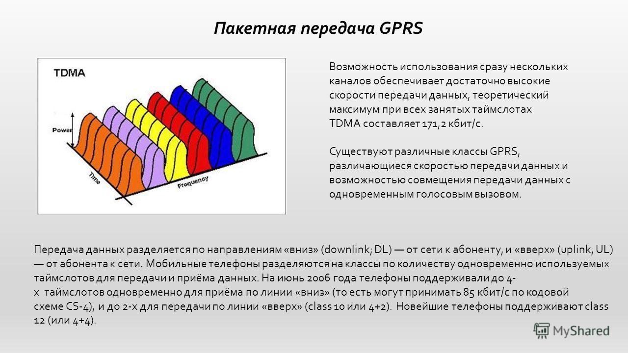 Пакетная передача GPRS Возможность использования сразу нескольких каналов обеспечивает достаточно высокие скорости передачи данных, теоретический максимум при всех занятых таймслотах TDMA составляет 171,2 кбит/c. Существуют различные классы GPRS, раз