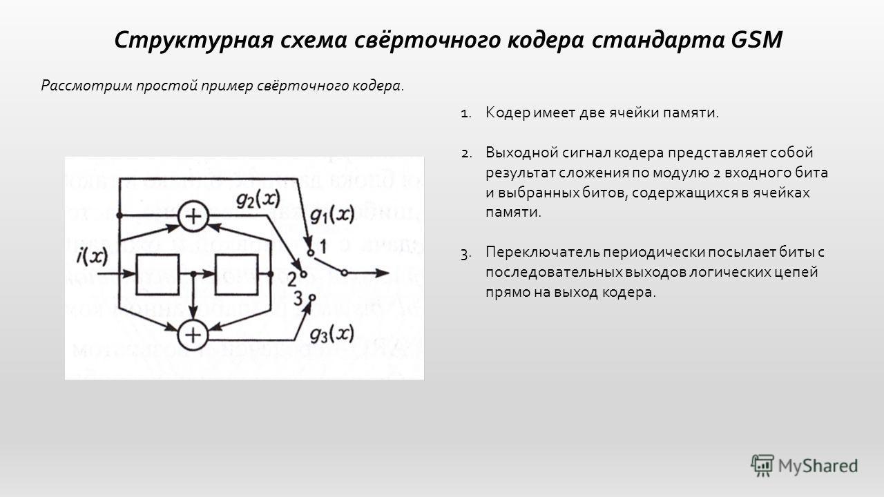 Структурная схема свёрточного кодера стандарта GSM Рассмотрим простой пример свёрточного кодера. 1.Кодер имеет две ячейки памяти. 2.Выходной сигнал кодера представляет собой результат сложения по модулю 2 входного бита и выбранных битов, содержащихся