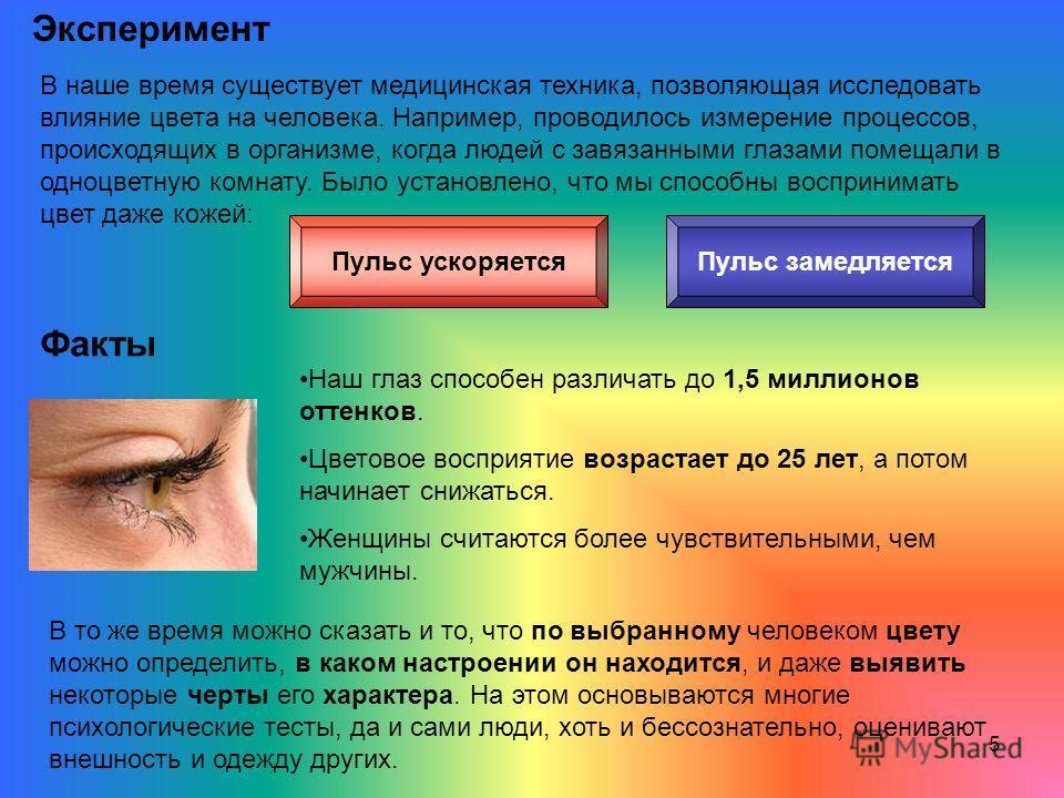 5 Эксперимент В наше время существует медицинская техника, позволяющая исследовать влияние цвета на человека. Например, проводилось измерение процессов, происходящих в организме, когда людей с завязанными глазами помещали в одноцветную комнату. Было