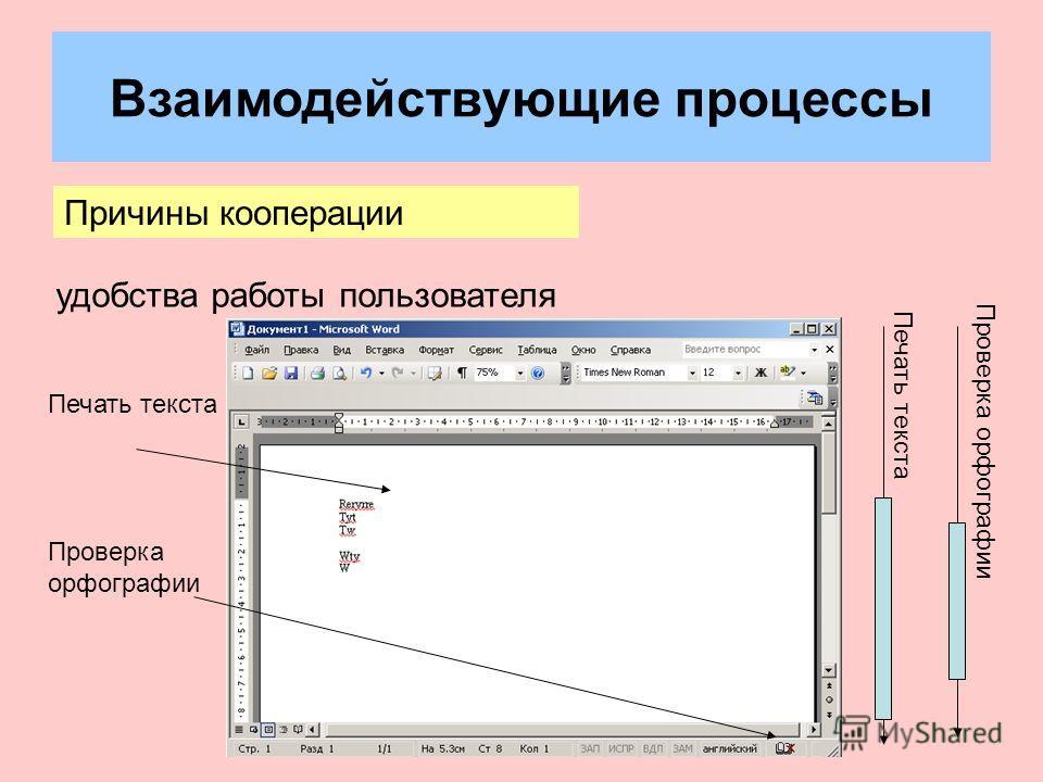 Взаимодействующие процессы Причины кооперации удобства работы пользователя Печать текста Проверка орфографии Печать текста Проверка орфографии