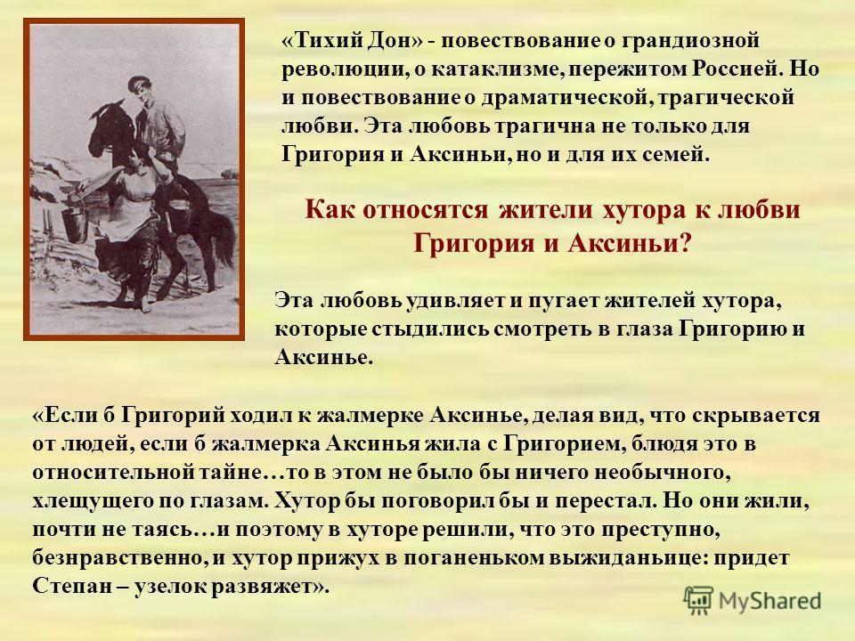«Тихий Дон» - повествование о грандиозной революции, о катаклизме, пережитом Россией. Но и повествование о драматической, трагической любви. Эта любовь трагична не только для Григория и Аксиньи, но и для их семей. Как относятся жители хутора к любви