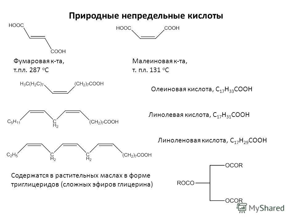 Природные непредельные кислоты Фумаровая к-та, т.пл. 287 о С Малеиновая к-та, т. пл. 131 о С Олеиновая кислота, С 17 Н 33 СООН Линолевая кислота, С 17 Н 31 СООН Линоленовая кислота, С 17 Н 29 СООН Содержатся в растительных маслах в форме триглицеридо