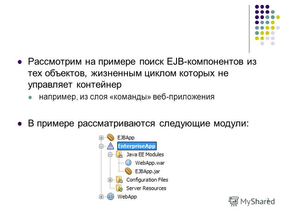 Рассмотрим на примере поиск EJB-компонентов из тех объектов, жизненным циклом которых не управляет контейнер например, из слоя «команды» веб-приложения В примере рассматриваются следующие модули: 2