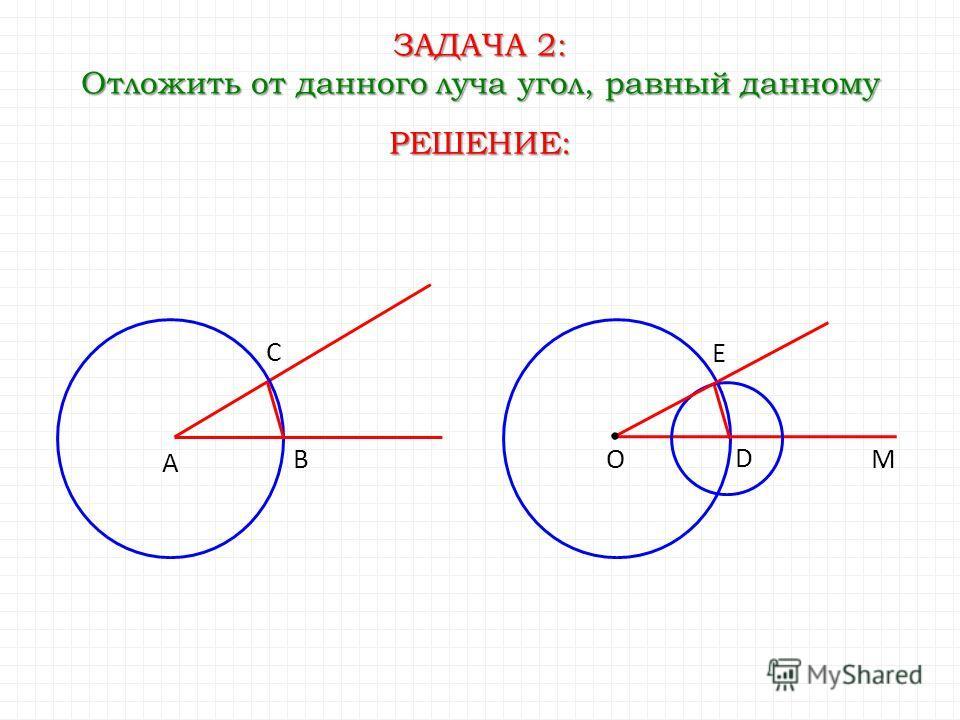 ЗАДАЧА 2: Отложить от данного луча угол, равный данному А В ОМ РЕШЕНИЕ: С D E