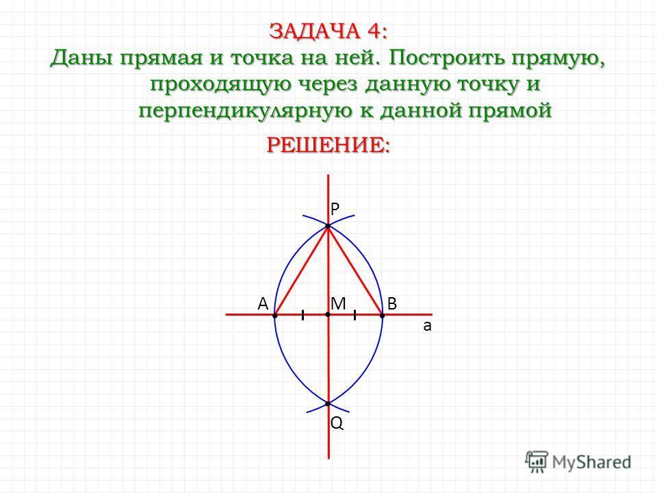 ЗАДАЧА 4: Даны прямая и точка на ней. Построить прямую, проходящую через данную точку и перпендикулярную к данной прямой Q РЕШЕНИЕ: AB P M a