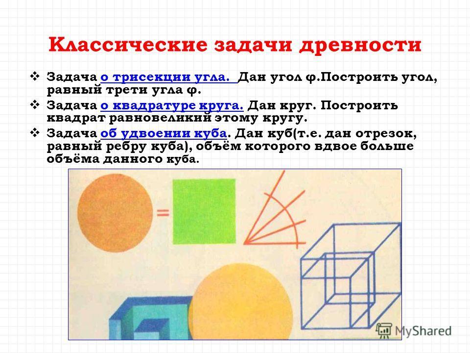 Классические задачи древности Задача о трисекции угла. Дан угол φ.Построить угол, равный трети угла φ.о трисекции угла. Задача о квадратуре круга. Дан круг. Построить квадрат равновеликий этому кругу.о квадратуре круга. Задача об удвоении куба. Дан к