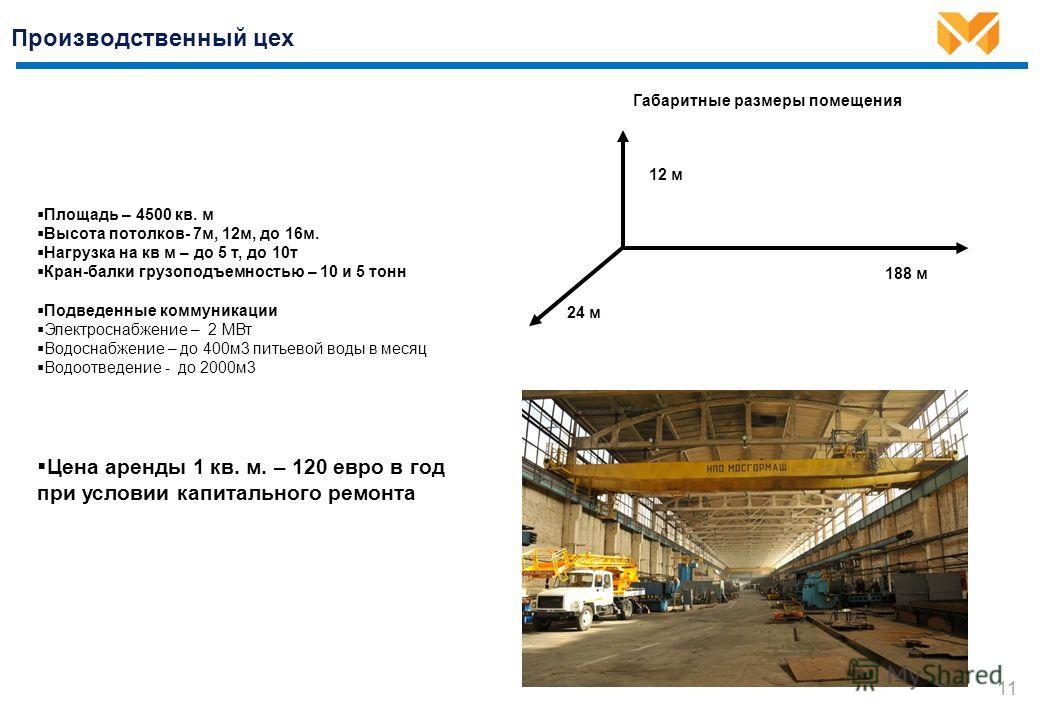 Производственный цех 11 Площадь – 4500 кв. м Высота потолков- 7м, 12м, до 16м. Нагрузка на кв м – до 5 т, до 10т Кран-балки грузоподъемностью – 10 и 5 тонн Подведенные коммуникации Электроснабжение – 2 МВт Водоснабжение – до 400м3 питьевой воды в мес