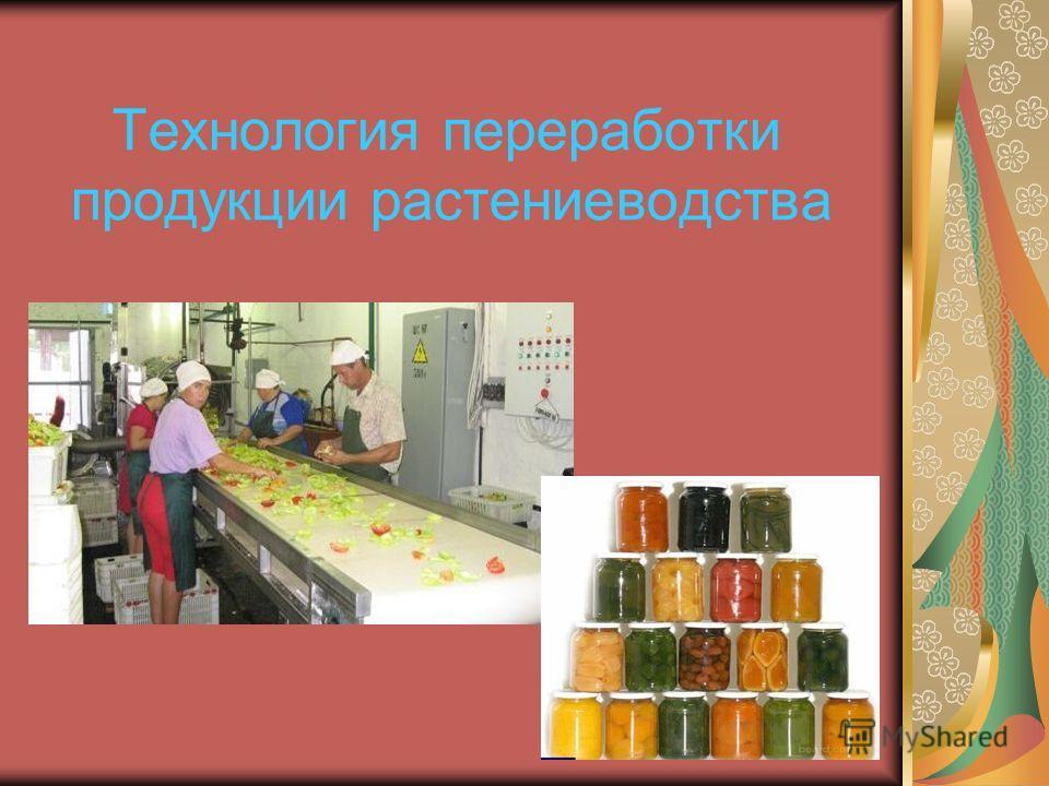 Технология переработки продукции растениеводства