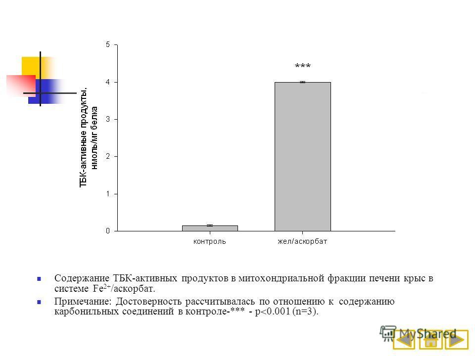 Содержание ТБК-активных продуктов в митохондриальной фракции печени крыс в системе Fe 2+ /аскорбат. Примечание: Достоверность рассчитывалась по отношению к содержанию карбонильных соединений в контроле-*** - p 0.001 (n=3).