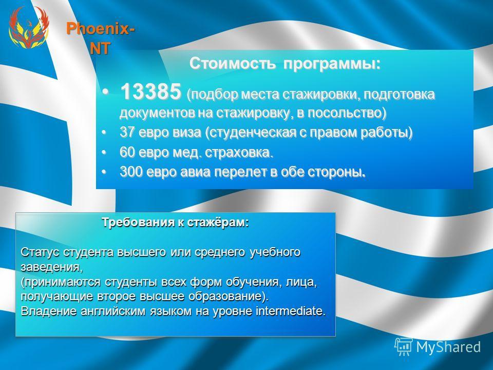 Стоимость программы: 13385 (подбор места стажировки, подготовка документов на стажировку, в посольство)13385 (подбор места стажировки, подготовка документов на стажировку, в посольство) 37 евро виза (студенческая с правом работы)37 евро виза (студенч
