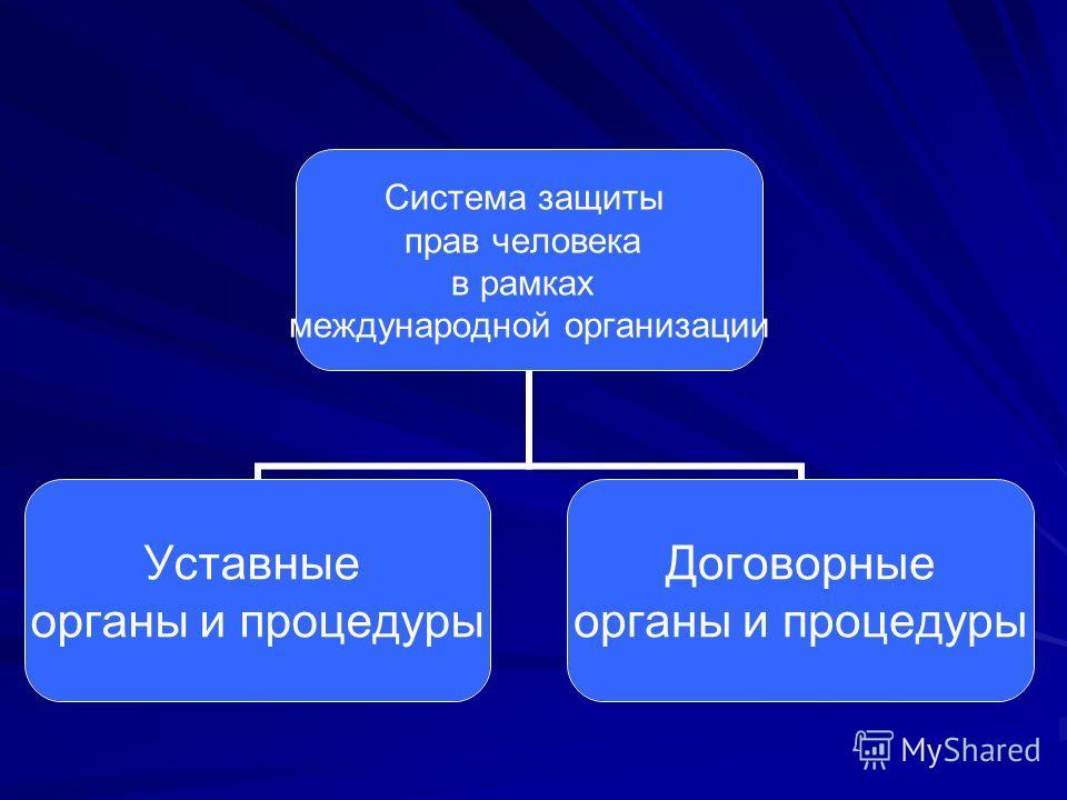 Система защиты прав человека в рамках международной организации Уставные органы и процедуры Договорные органы и процедуры