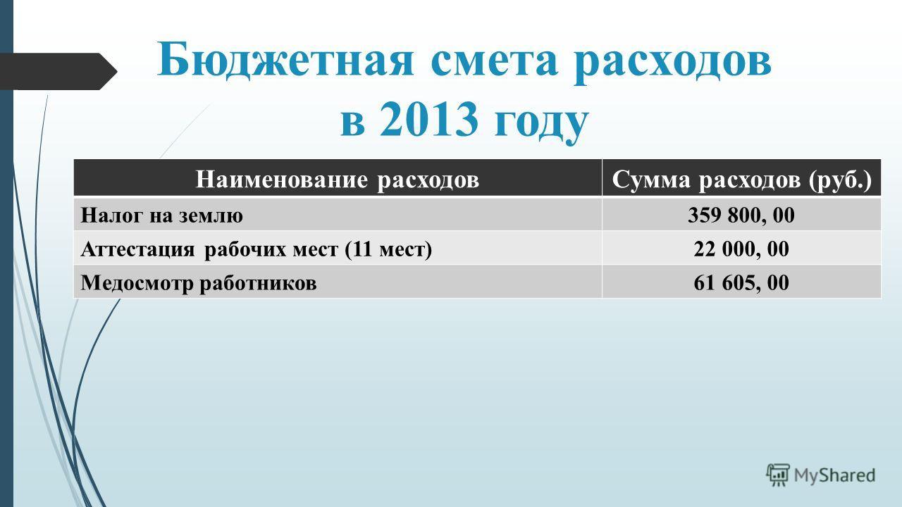 Бюджетная смета расходов в 2013 году Наименование расходовСумма расходов (руб.) Налог на землю359 800, 00 Аттестация рабочих мест (11 мест)22 000, 00 Медосмотр работников61 605, 00