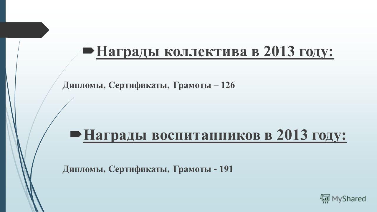 Награды коллектива в 2013 году: Дипломы, Сертификаты, Грамоты – 126 Награды воспитанников в 2013 году: Дипломы, Сертификаты, Грамоты - 191