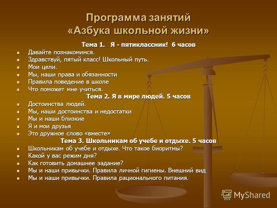 Программа занятий «Азбука школьной жизни» Тема 1. Я - пятиклассник! 6 часов Давайте познакомимся. Давайте познакомимся. Здравствуй, пятый класс! Школьный путь. Здравствуй, пятый класс! Школьный путь. Мои цели. Мои цели. Мы, наши права и обязанности М