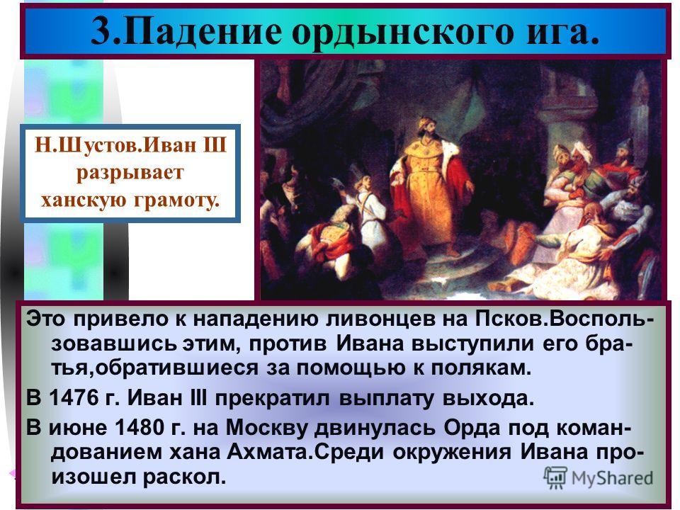 Меню Это привело к нападению ливонцев на Псков.Восполь- зовавшись этим, против Ивана выступили его бра- тья,обратившиеся за помощью к полякам. В 1476 г. Иван III прекратил выплату выхода. В июне 1480 г. на Москву двинулась Орда под коман- дованием ха