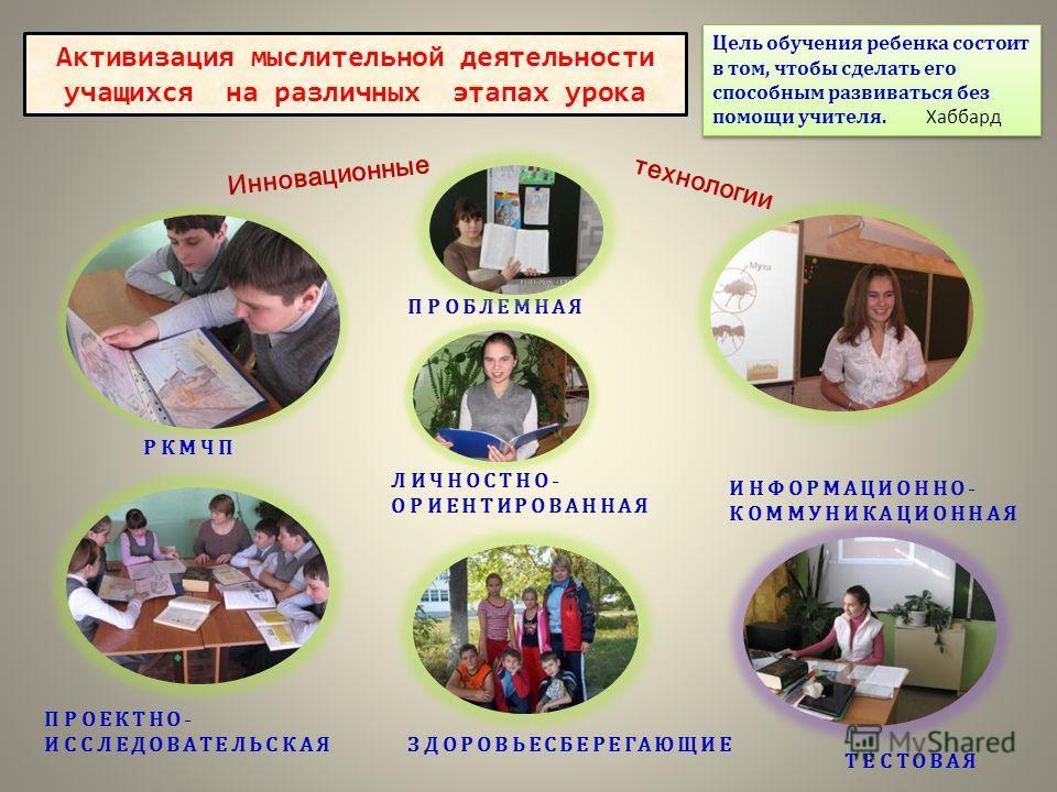 Инновационные технологии РКМЧП ПРОЕКТНО- ИССЛЕДОВАТЕЛЬСКАЯ ИНФОРМАЦИОННО- КОММУНИКАЦИОННАЯ Активизация мыслительной деятельности учащихся на различных этапах урока ПРОБЛЕМНАЯ ЛИЧНОСТНО- ОРИЕНТИРОВАННАЯ ЗДОРОВЬЕСБЕРЕГАЮЩИЕ ТЕСТОВАЯ Цель обучения ребен