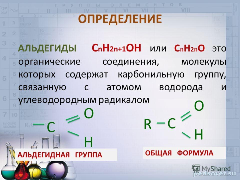 ОПРЕДЕЛЕНИЕ АЛЬДЕГИДЫ С n H 2n+1 OН или С n H 2n O это органические соединения, молекулы которых содержат карбонильную группу, связанную с атомом водорода и углеводородным радикалом OHOH С R OHOH С ОБЩАЯ ФОРМУЛА АЛЬДЕГИДНАЯ ГРУППА