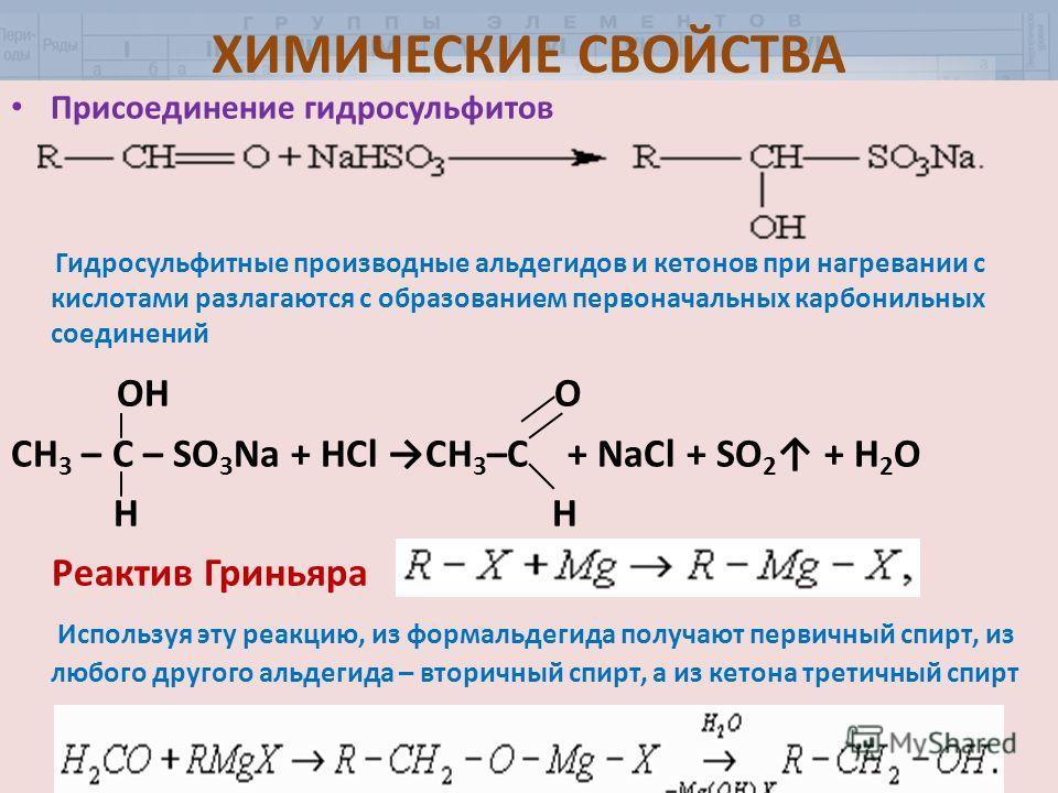 ХИМИЧЕСКИЕ СВОЙСТВА Присоединение гидросульфитов Гидросульфитные производные альдегидов и кетонов при нагревании с кислотами разлагаются с образованием первоначальных карбонильных соединений OH O СН 3 – С – SO 3 Na + HCl CH 3 –C + NaCl + SO 2 + H 2 O