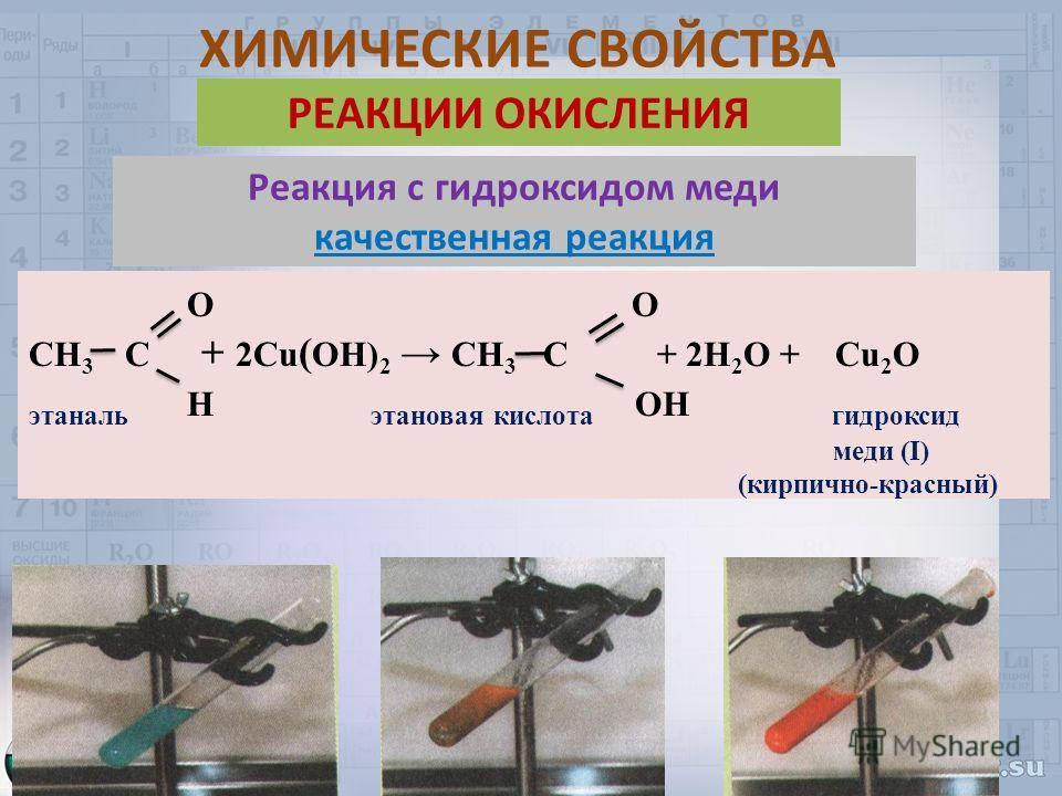 Реакция с гидроксидом меди качественная реакция О О СН 3 С + 2Cu ( OH) 2 СН 3 С + 2H 2 O + Cu 2 O этаналь Н этановая кислота OН гидроксид меди (I) (кирпично-красный) РЕАКЦИИ ОКИСЛЕНИЯ ХИМИЧЕСКИЕ СВОЙСТВА
