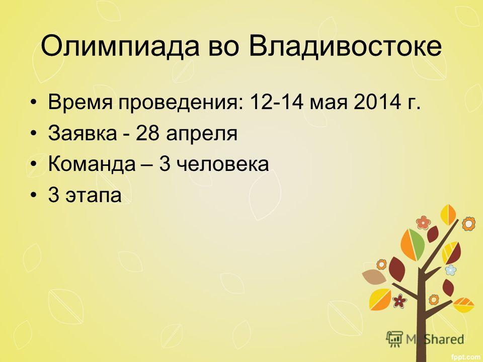 Время проведения: 12-14 мая 2014 г. Заявка - 28 апреля Команда – 3 человека 3 этапа