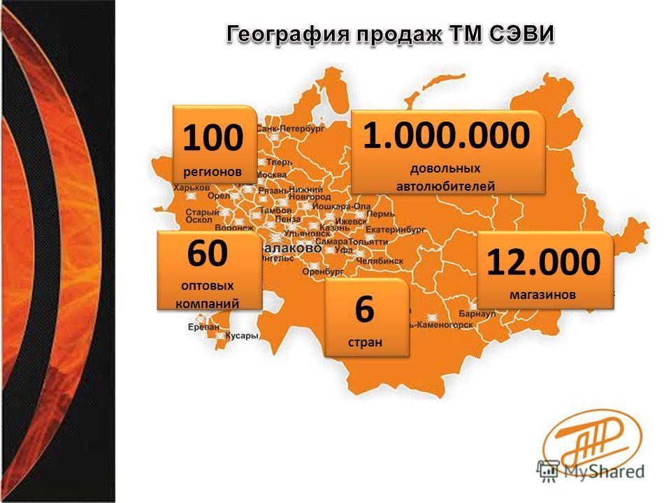 60 оптовых компаний 60 оптовых компаний 100 регионов 1.000.000 довольных автолюбителей 6 стран 6 стран 12.000 магазинов 12.000 магазинов