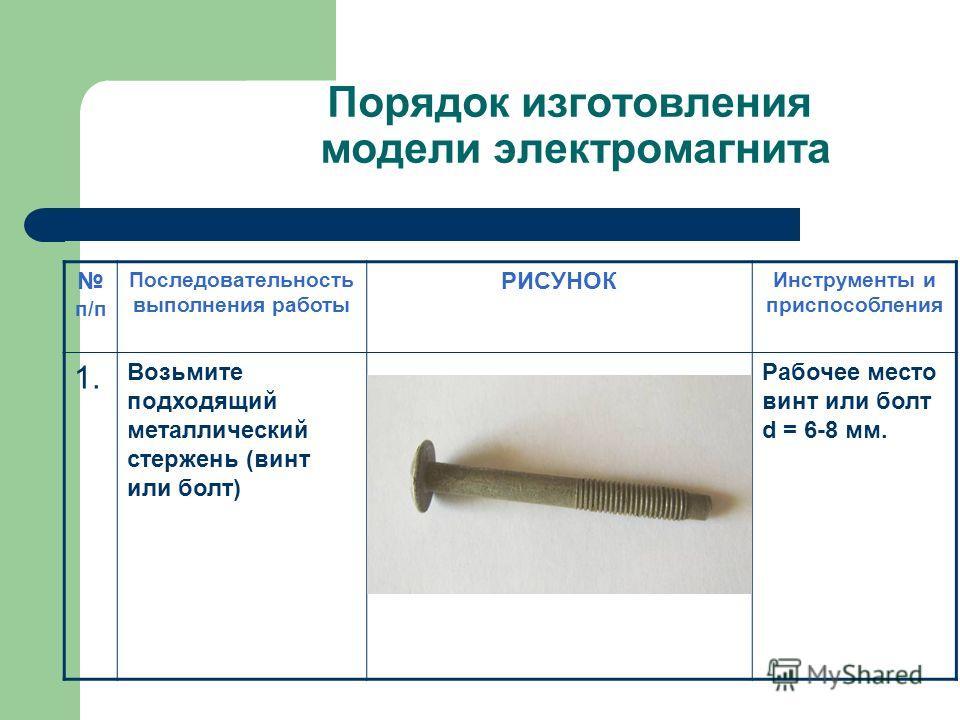 Порядок изготовления модели электромагнита п/п Последовательность выполнения работы РИСУНОК Инструменты и приспособления 1. Возьмите подходящий металлический стержень (винт или болт) Рабочее место винт или болт d = 6-8 мм.