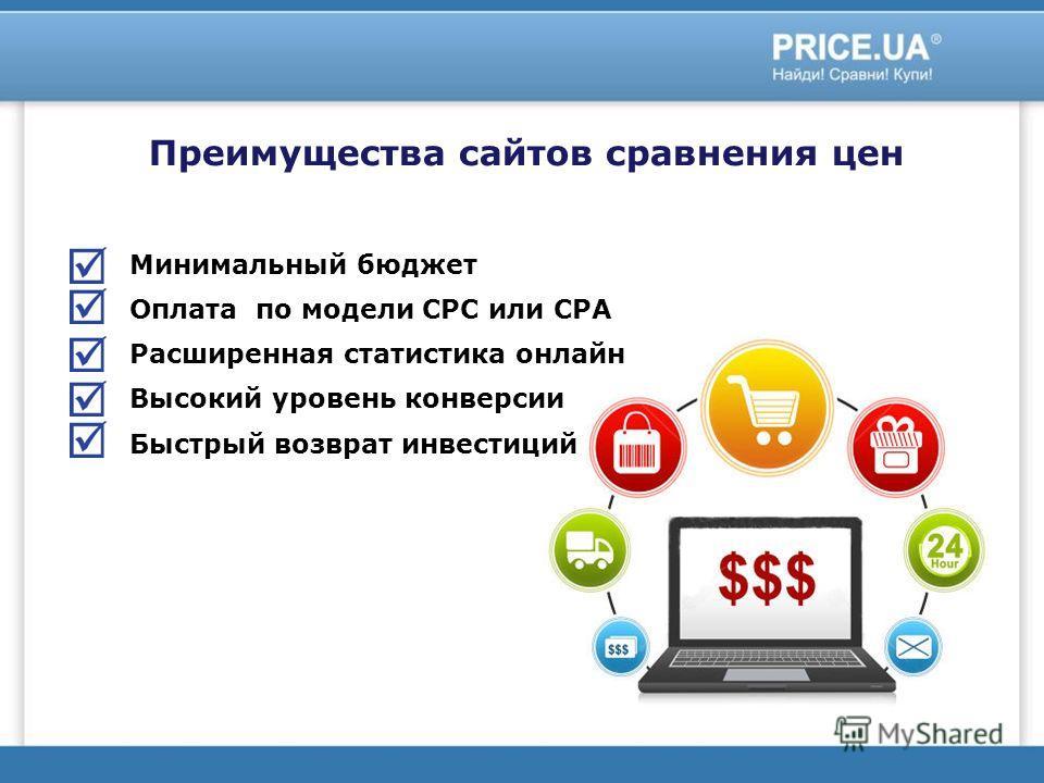 Минимальный бюджет Оплата по модели СРС или СРА Расширенная статистика онлайн Высокий уровень конверсии Быстрый возврат инвестиций Преимущества сайтов сравнения цен