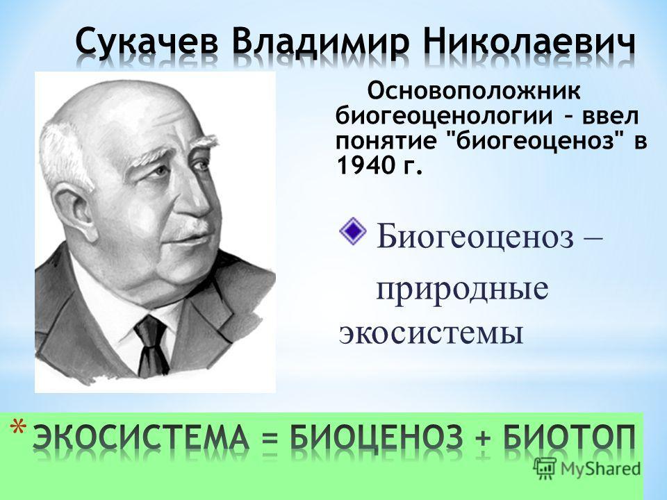 Основоположник биогеоценологии – ввел понятие биогеоценоз в 1940 г. Биогеоценоз – природные экосистемы