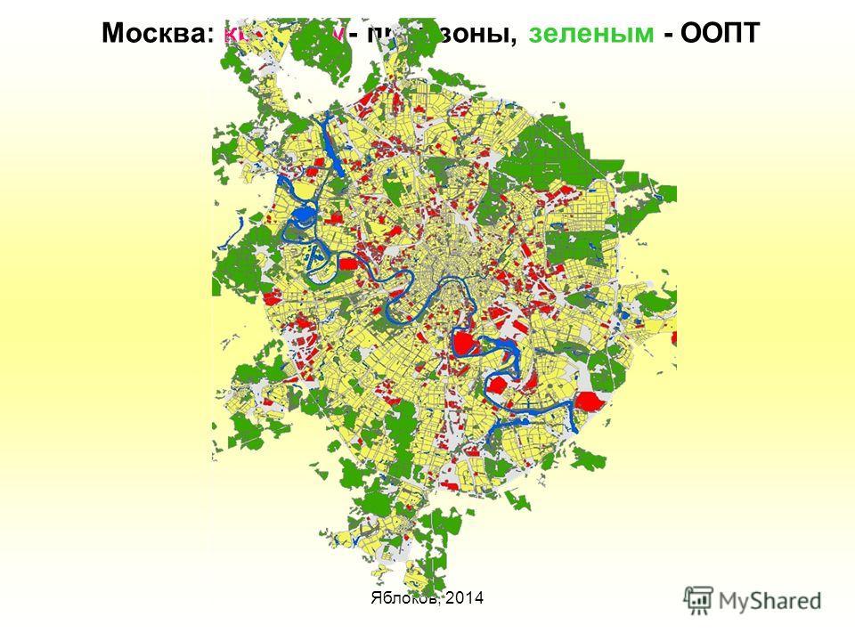 Яблоков, 2014 Москва: красным- промзоны, зеленым - ООПТ