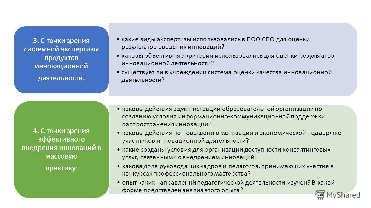 какие виды экспертизы использовались в ПОО СПО для оценки результатов введения инноваций? каковы объективные критерии использовались для оценки результатов инновационной деятельности? существует ли в учреждении система оценки качества инновационной д