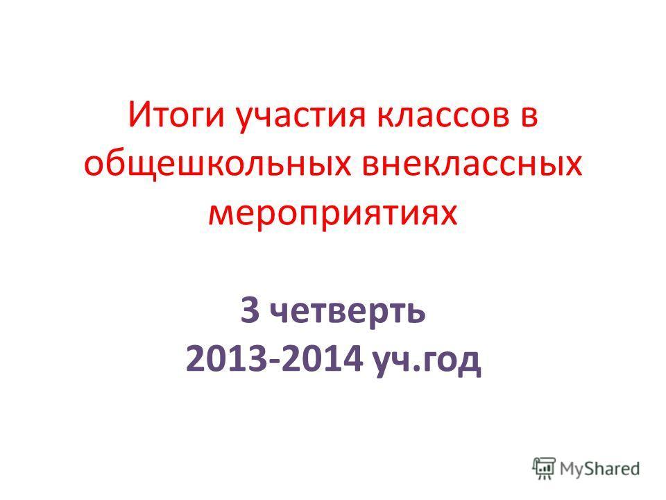 Итоги участия классов в общешкольных внеклассных мероприятиях 3 четверть 2013-2014 уч.год