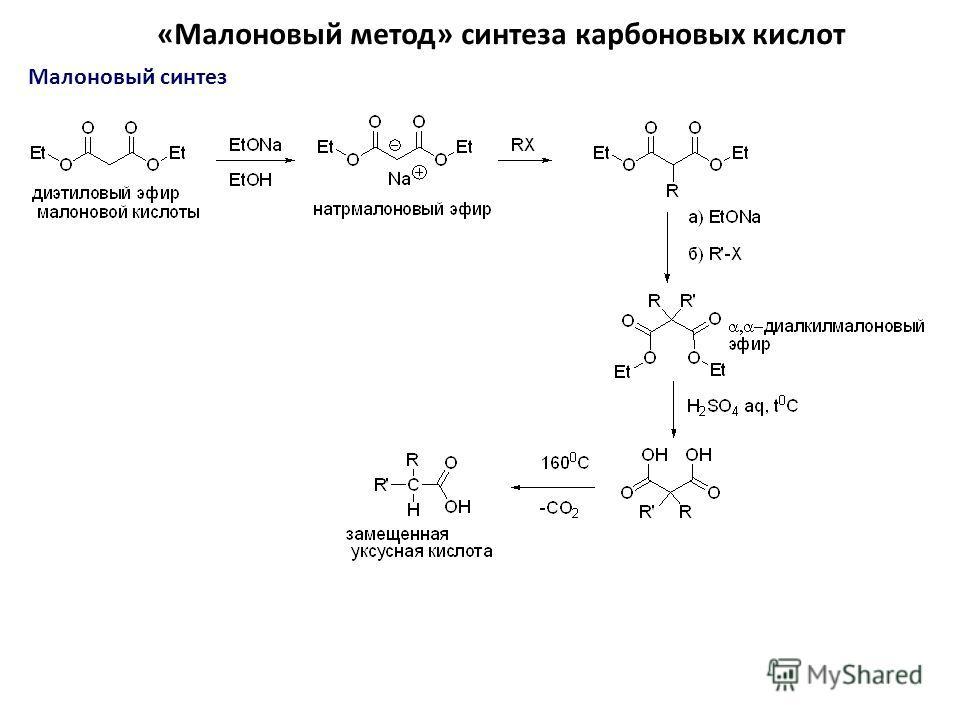 «Малоновый метод» синтеза карбоновых кислот Малоновый синтез