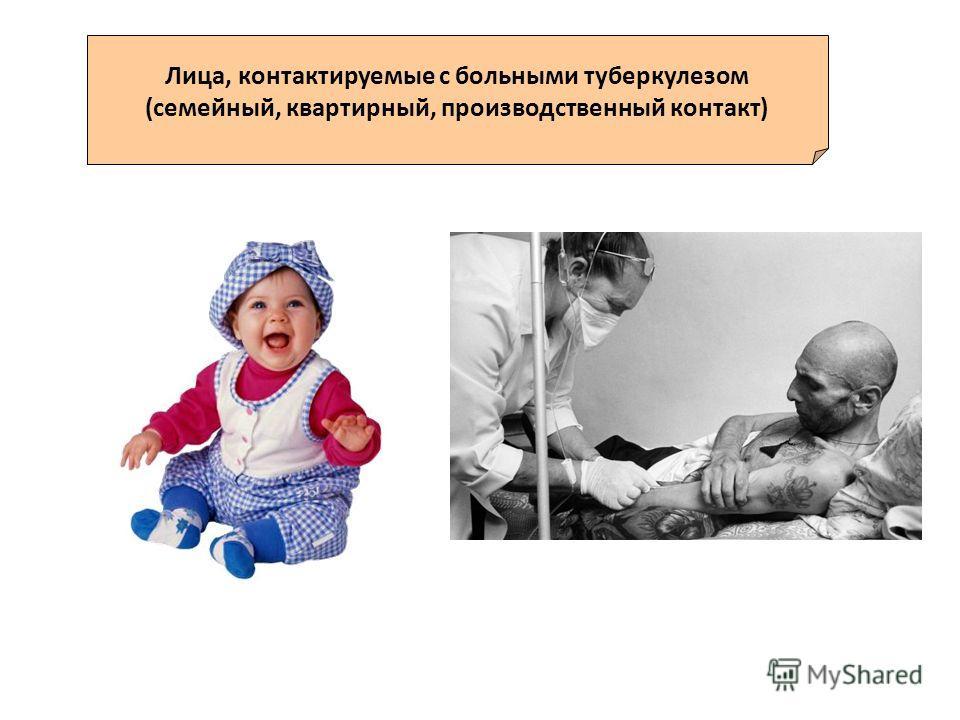 Лица, контактируемые с больными туберкулезом (семейный, квартирный, производственный контакт)