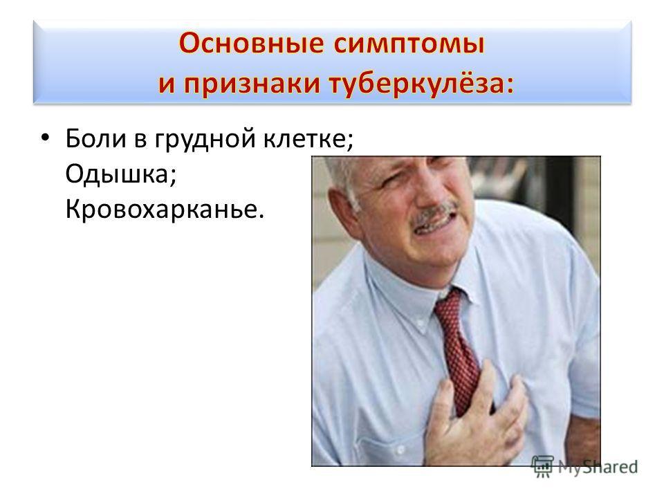 Боли в грудной клетке; Одышка; Кровохарканье.