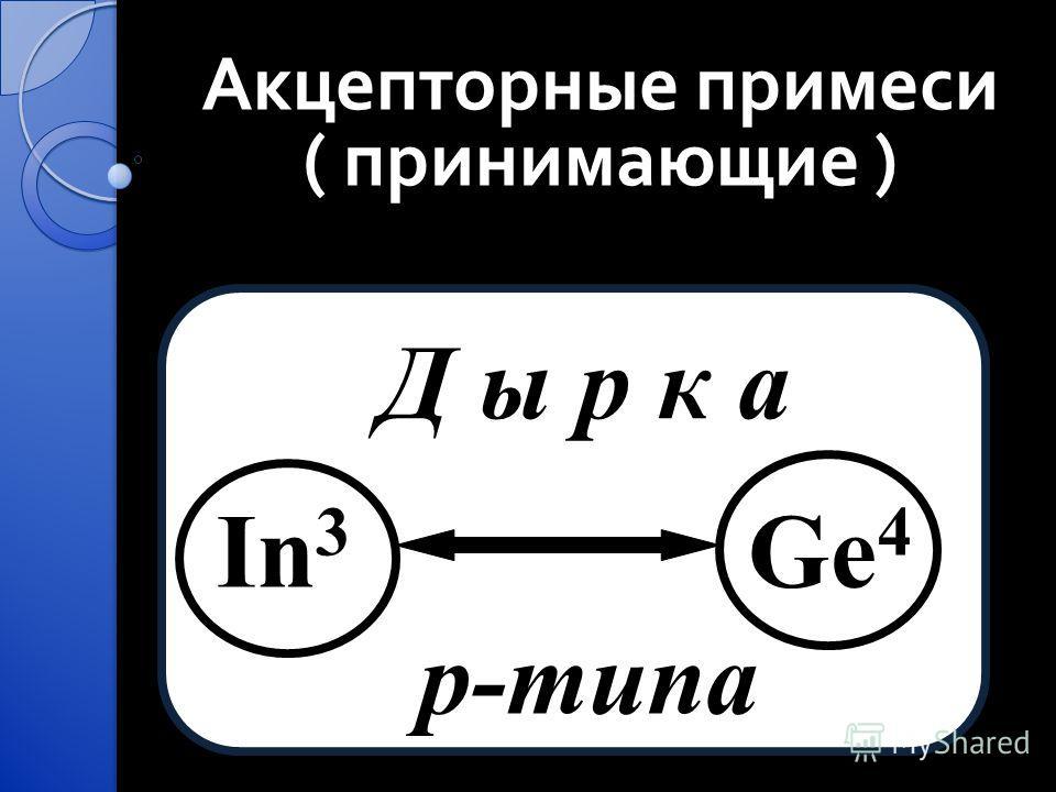 Акцепторные примеси ( принимающие ) Д ы р к а In 3 Ge 4 p-типа